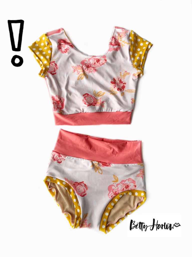 Pink floral & mustard dots set or leotard Betty Harlow