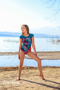 Tropical Neon Leaves Leotard Betty Harlow