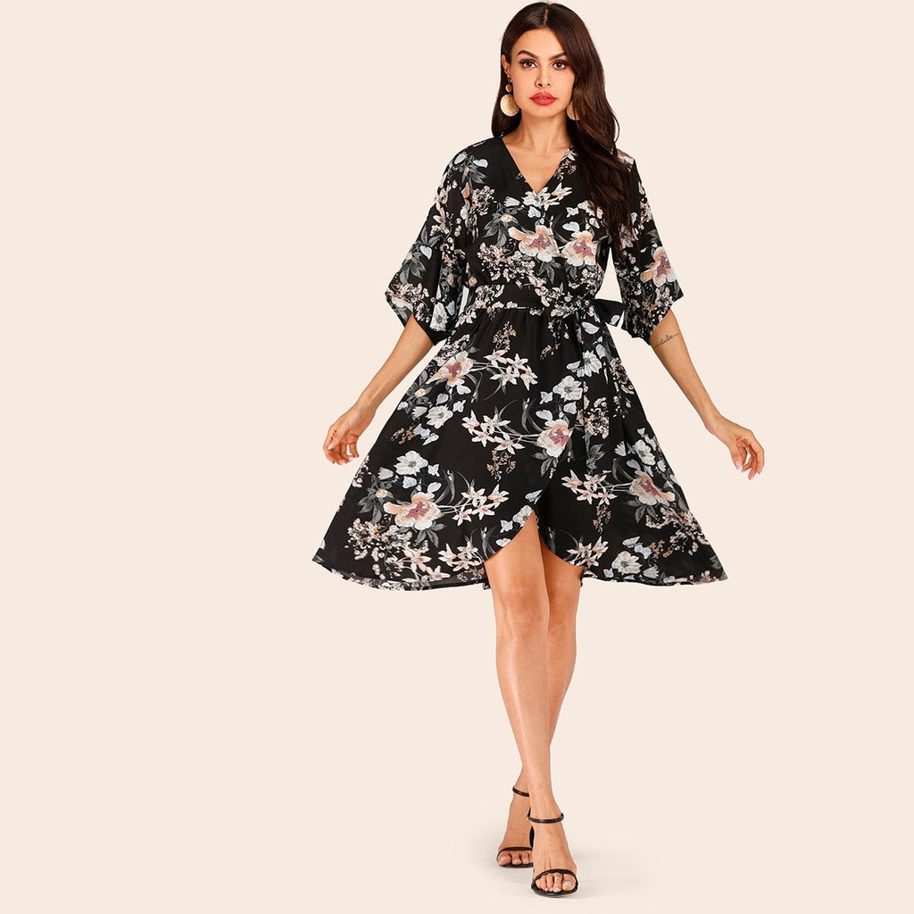 Surplice Floral Print Belted Dress