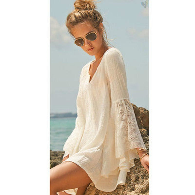 V-neck Beach Dress - Long Sleeve - Yoga Beach