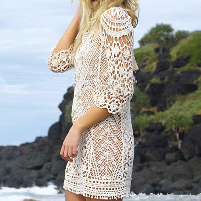 Open Back - Lace Beach Cover Up - Yoga Beach