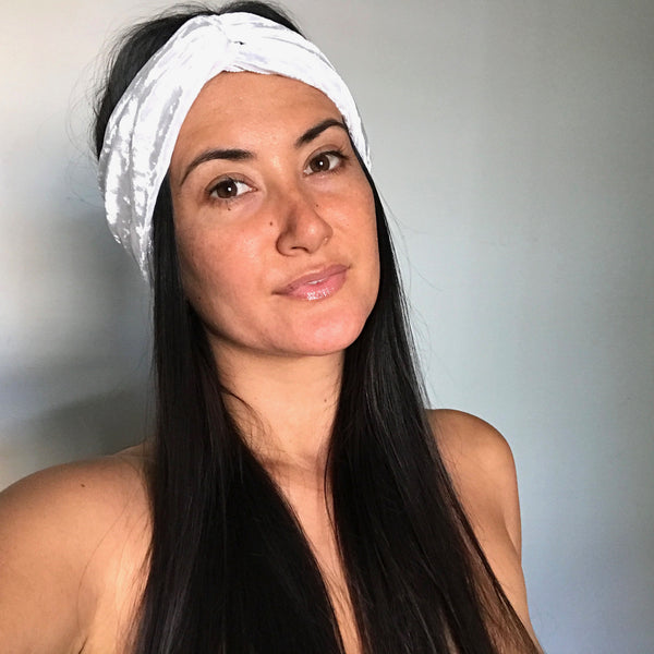 Turban Headband - White velvet
