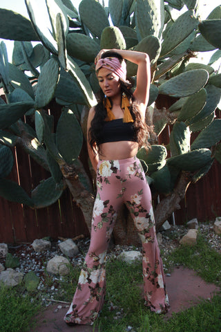Floral High Waist Bell Bottoms- Pink