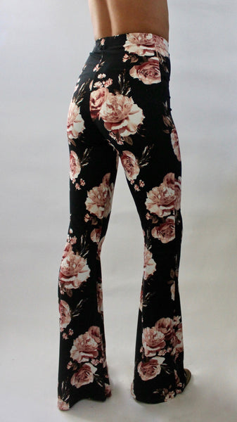 Floral High Waist Bell Bottoms Pink Roses