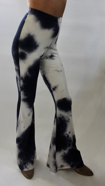 High Waist Bell Bottoms Blue Tie Dye
