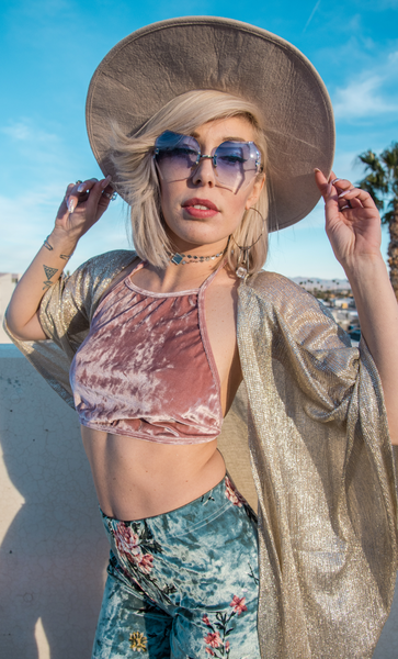 Crushed Velvet Crop- Baby Pink