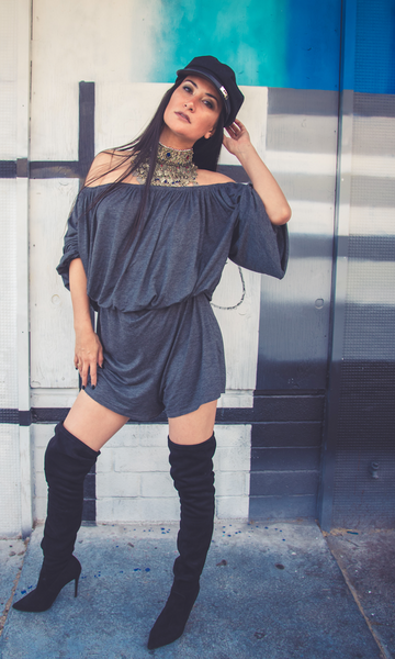 Off the shoulder romper - Charcoal Grey