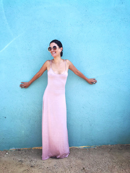 Backless Maxi Dress - Rosey pink