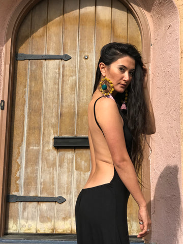 Backless Maxi Dress - Black