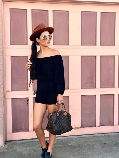 Off the shoulder romper - Black