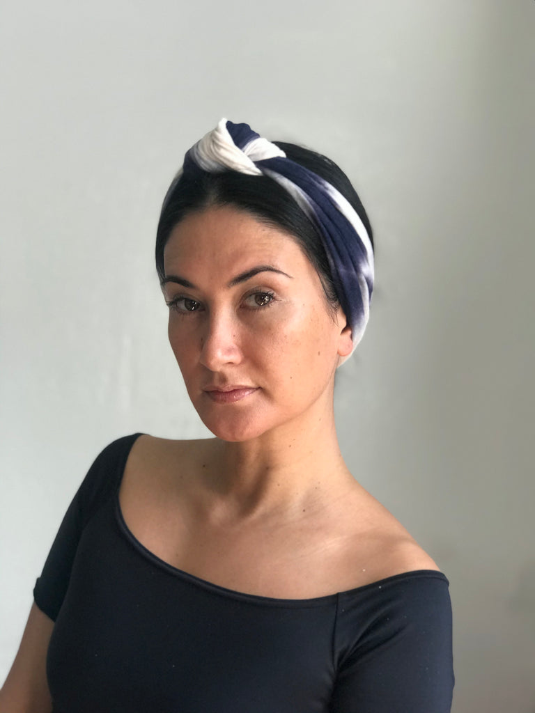 Wide Knot Top Headband Blue and white