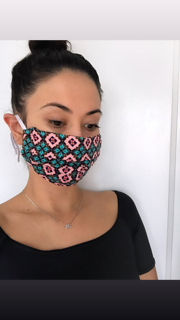 Fabric handmade face mask- Pink tile print