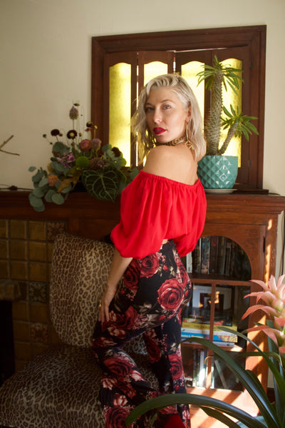 Floral High Waist Bell Bottoms Red Roses