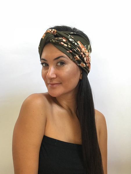Wide Turban Headband - Olive Floral