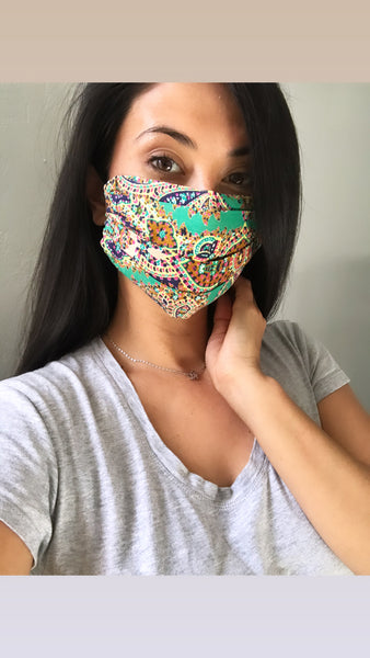 Fabric handmade face mask- Green Paisley