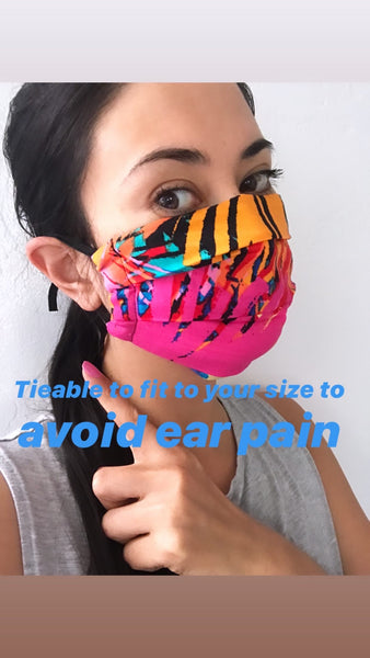 Fabric handmade face mask- Tropical pink