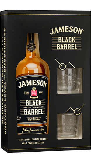JAMESON BLACK BARREL IRISH WHISKEY GIFT PACK WITH 2 GLASSES 700ML