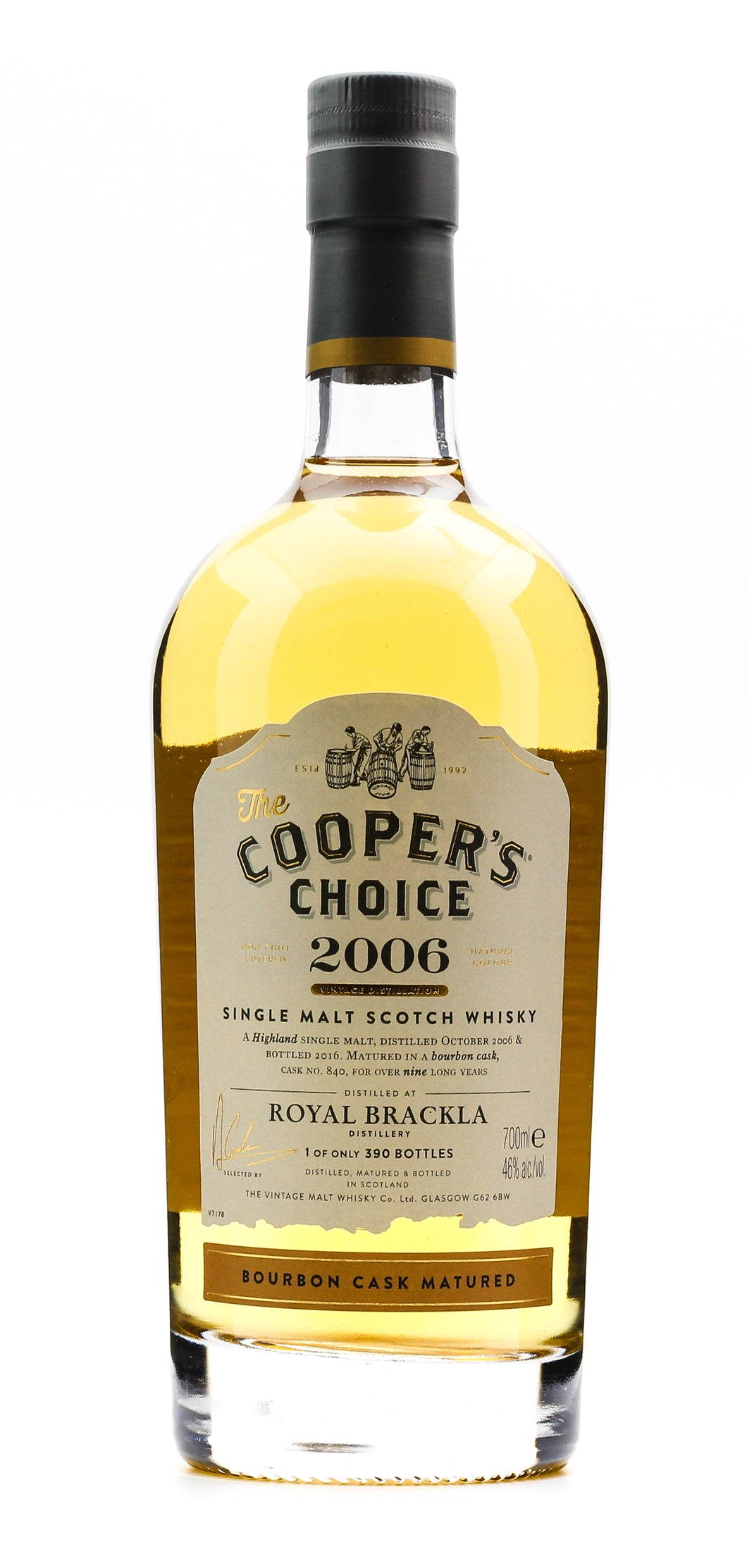 ROYAL BRACKLA 2006 COOPERS CH 46% 700ML*