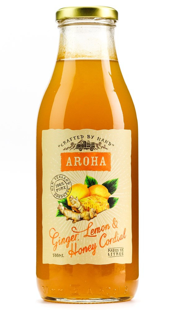 AROHA CORDIAL GINGER HONEY & LEMON 500ML