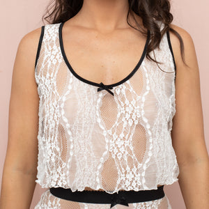Cropped Camisole - White Lace