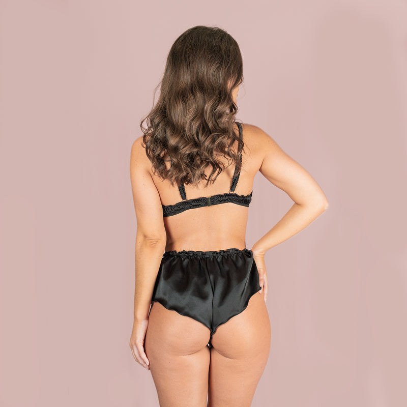 Classic Silk French Knicker - Black