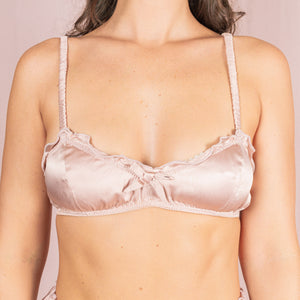 Silk Ruffle Bralette - Rose Gold
