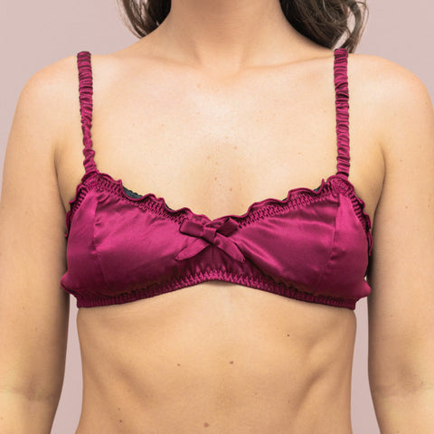 Silk Ruffle Bralette in Plum
