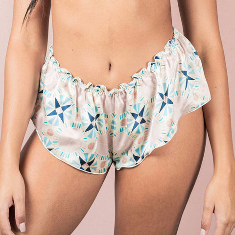 Studio Carragher x Desvalido | Classic Silk French Knicker - Blue Tile Print