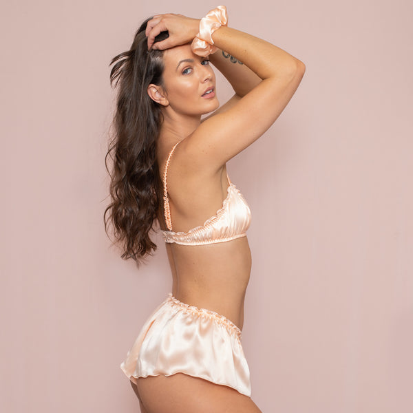 Classic French Knicker - Peach Silk