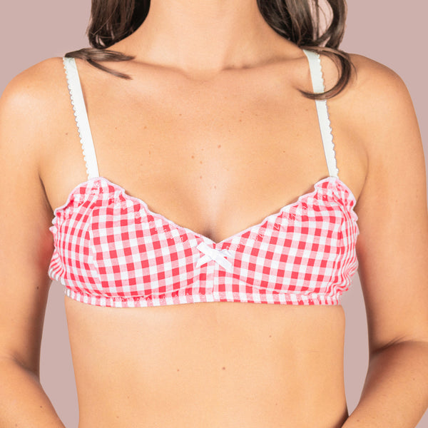 Ruffle Bralette - Red Cotton Gingham
