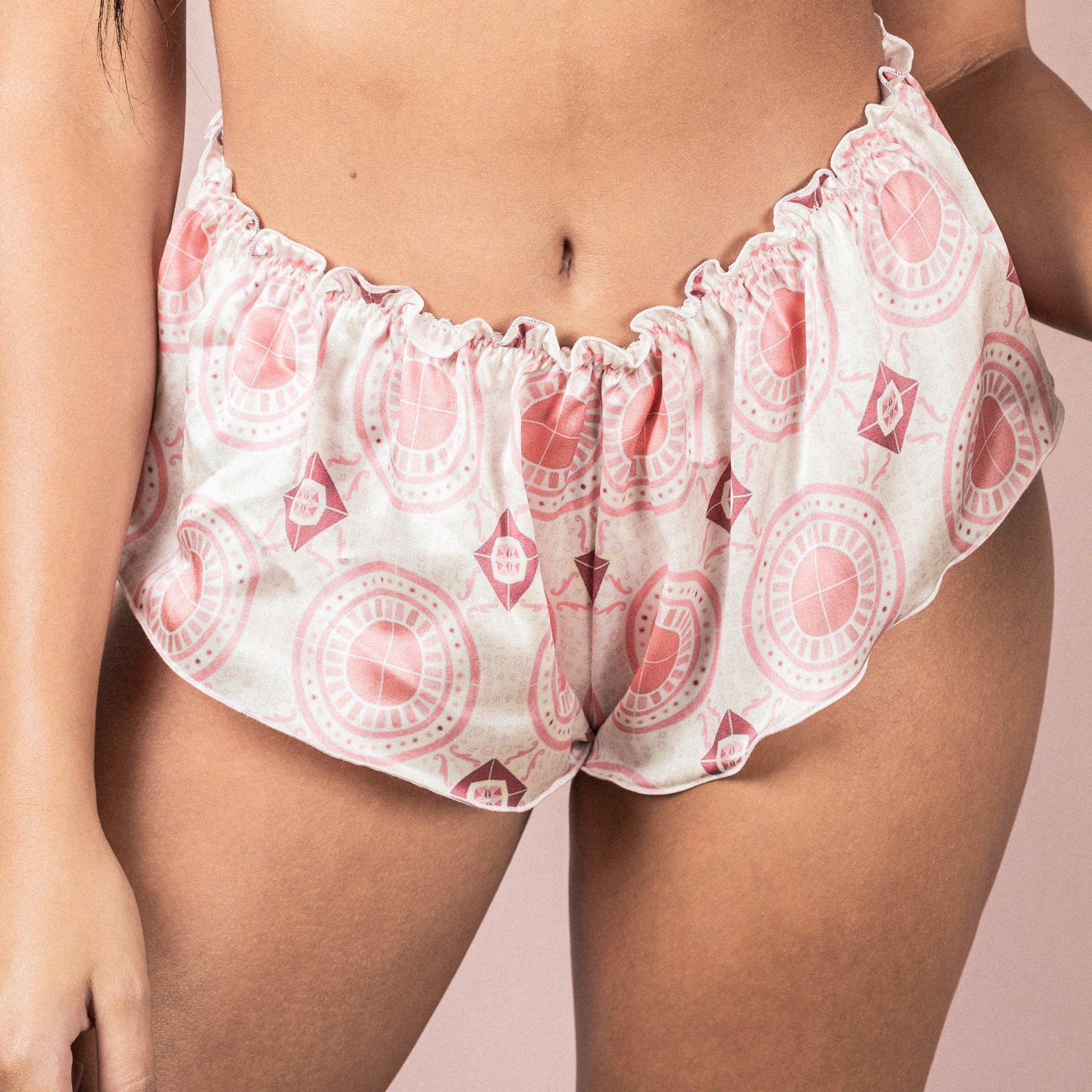 Studio Carragher x Desvalido | Classic Silk French Knicker - Pink Tile Print