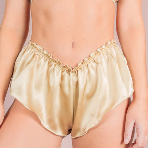 Classic Silk French Knicker - Champagne Gold
