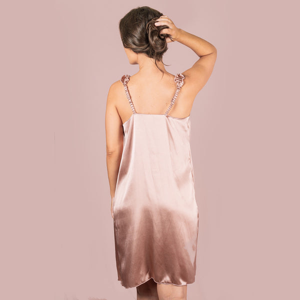 Silk Ruffle Slip Dress - Rose Gold (10 colours available)