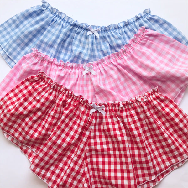 Classic French Knicker - Blue Cotton Gingham