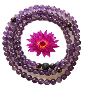 Amethyst/Garnet 108 Bead Prayer Mala on Stretch Cord