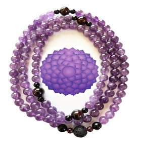 Amethyst/Tourmaline/Garnet 108 Bead Prayer Mala on Stretch Cord