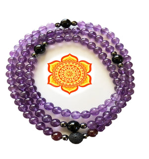Amethyst/Tourmaline/Hematite 108 Bead Prayer Mala on Stretch Cord
