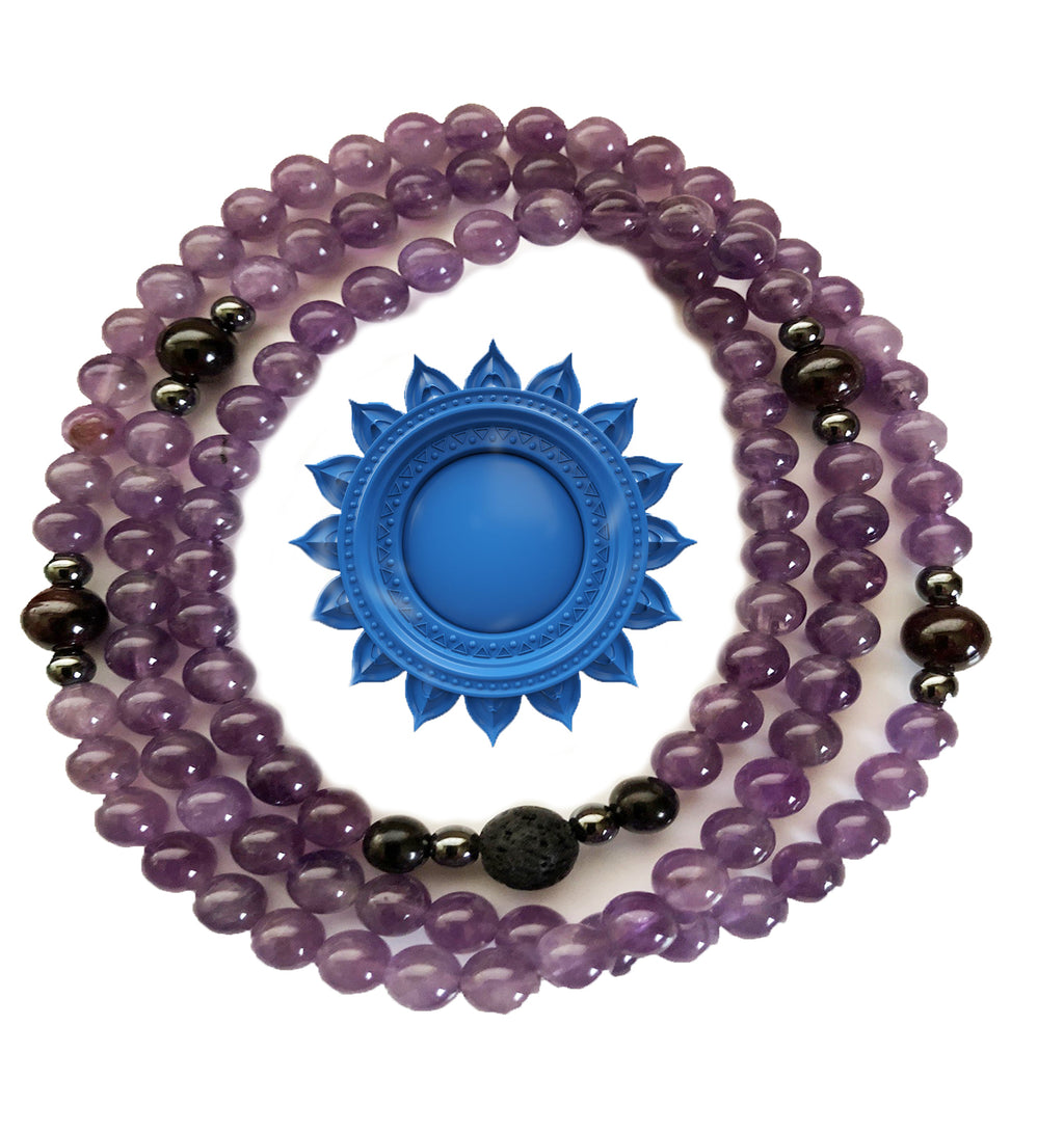 Amethyst/Shungite/Hematite 108 Bead Prayer Mala on Stretch Cord
