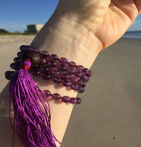 Amethyst 108 Bead Hand Knotted Prayer Mala