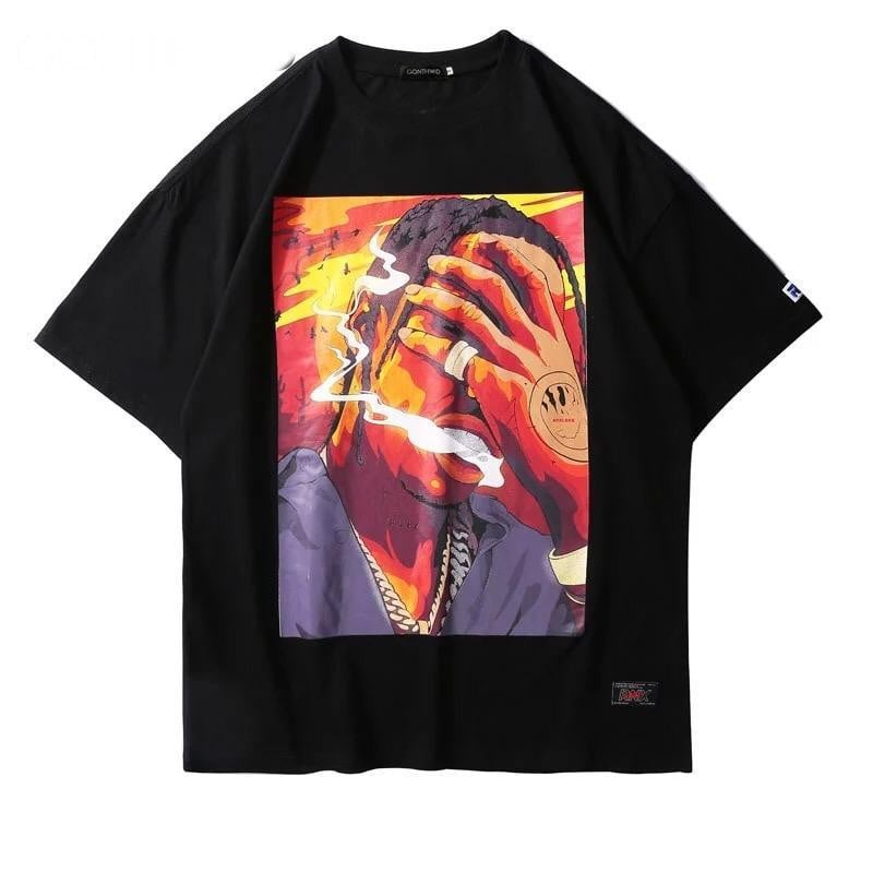 T-shirt imprimé SMOKING TRAVIS - Noir / S - Boutique en ligne Streetwear
