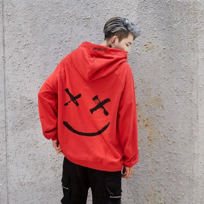 Sweat Hoodie SMILE - Rouge / S - Boutique en ligne Streetwear
