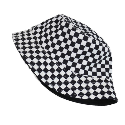 Bucket Hat Two-sided Harajuku Black White Lattice Fisherman Hat Ladies Leisure Sun Hat Male Street Tide Basin Cap Hip Hop Cap