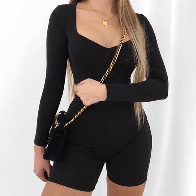 HEYounGIRL Fitness Casual Solid Womens Tracksuit Set Long Sleeve Crop Top and Biker Shorts Two Piece Set Skinny Outfit Spring