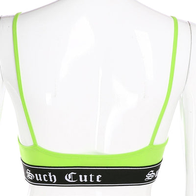 HEYounGIRL Fitness Workout Casual Sleeveless Top Women V Neck Backless Sexy Crop Tops Tees Neon Green Spaghetti Strap Top Summer