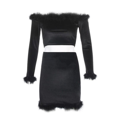 HEYounGIRL Furry Off Shoulder Crop Top and Skirt 2 Piece Set Women Black Sexy Bodycon Matching Sets Velvet Outfits Ladies Spring
