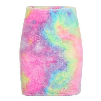 HEYounGIRL Furry Tie Dye Print Pencil Skirt Autumn Casual High Waist Skirts Womens Fashion Mini Wrap Skirt Ladies Streetwear