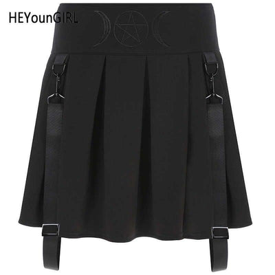 HEYounGIRL Korean Black Punk Pleated Mini Skirt Gothic High Waist Skirts Womens Casual Short Skirt with Strips Streetwear 2020