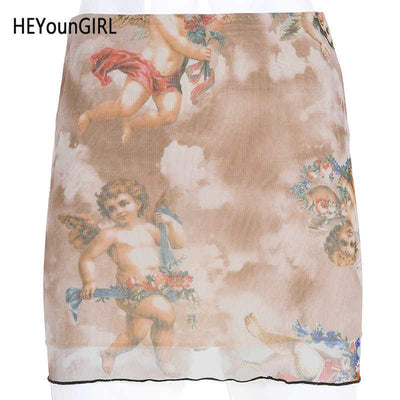 HEYounGIRL Print Angel High Waist Mini Skirt Casual Harajuku Bodycon Skirts Womens Black Korean Short Skirt Streetwear Summer