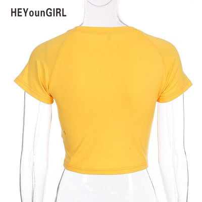 HEYounGIRL Print Short Sleeve T Shirt Womens Sexy Cropped Tops Tees Casual Fashion Cotton T-shirt Fitness Basic Streetwear Top