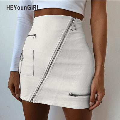 HEYounGIRL PU High Waist Faux Leather Skirts Elegant Vintage Pencil Skirt 2018 Summer Sheath Avove Knee Mini Short Skirt Zipper